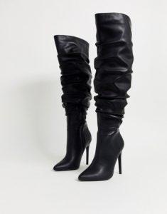 ASOS Design Wide Fit Carlotta Slouch Stiletto Knee Boot in Black