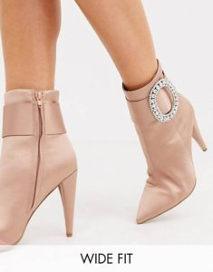 ASOS Design Wide Fit Eclectic Rhinestone Buckle Boots in Pink