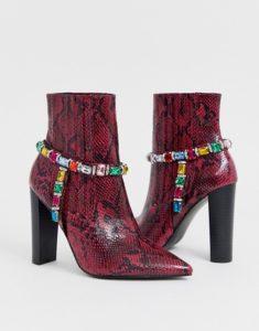 ASOS Design Empire Embellished Western Boots in Pink Snake