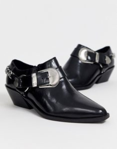 ASOS Design Wide Fit Mirror Leather Western Flat Shoes in Black