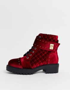 ASOS Design Wide Fit Annabel Studded Lace Up Boots in Red Velvet